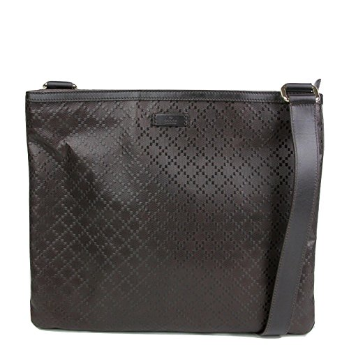 Gucci Leather Messenger Bag - Gucci Hilary Dark Brown Lux Diamante Leather Messenger Bag 201446 2044