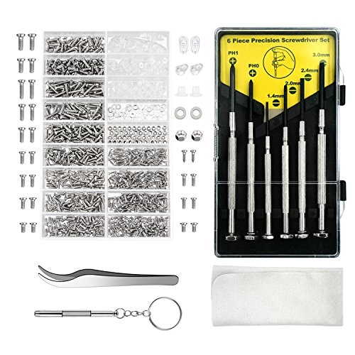 Aluan Eyeglass Repair Kit Sunglasses Repair Kit with Nose Pads Screws Screwdriver Tweezers for Watch Clock Spectacle Repair (Versace Gläser)