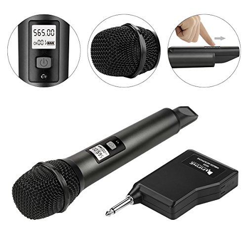 fifine wireless microphone system with portable receiver 1 4 39 39 output selectable uhf channels. Black Bedroom Furniture Sets. Home Design Ideas