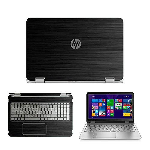Black Brushed Aluminum skin decal wrap skin Case for HP ENVY x360 15-u000 15-u010 15-u011dx 15-u110dx 15-u111dx 15.6 Touch Laptop