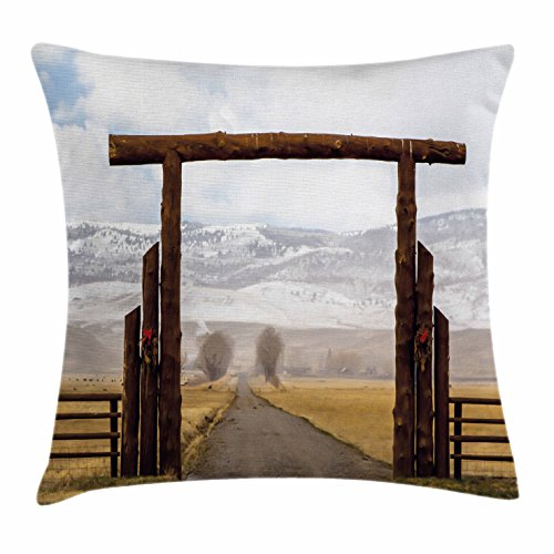 Lunarable Western Throw Pillow Cushion Cover, Big Log Gate Lane Montana Cattle Ranch in Winter Countryside Hills Cloudy Sky, Decorative Square Accent Pillow Case, 36 X 36 Inches, Brown Grey Blue - Country Lane Dinner