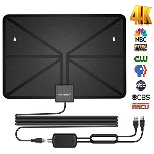 VICTONY HD Digital TV Antenna,Indoor Amplified HDTV Antenna 50 Mile Range with Detachable Amplifier Signal Booster and 16.5 Feet Coaxial Cable - Support All Formats … by VICTONY