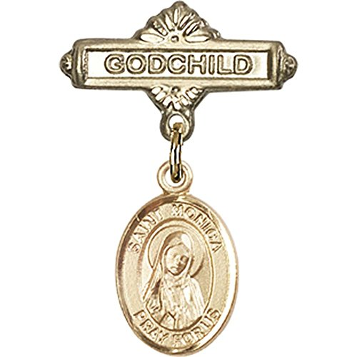 14kt Yellow Gold Baby Badge with St. Monica Charm and Godchild Badge Pin 1 X 5/8 inches by Unknown
