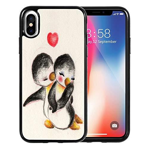 DOO UC Designed for Apple iPhone XR Case (2018) TPU Black Case -Cute Penguin Couples I Love You