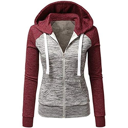 (Newbestyle Women's Casual Color Block Jersey Full Zip Fleece Hoodie Jacket with Kangaroo Pocket Red 2XL)