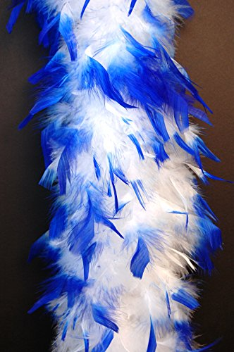 80 Gram Chandelle Feather Boa 2 Yards - WHITE w/ ROYAL BLUE Tips