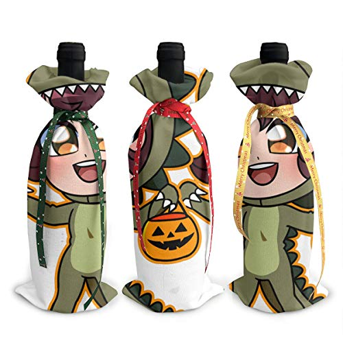 NBteach Dinosaur Costume Girl Halloween Pumpkin 3pcs Christmas Xmas Red Wine Glass Bottle Wraps Cover Bag Decorations Ornaments Theme Tasting Charms Accessories Gifts -