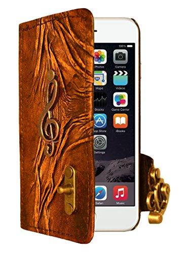 """A Little Present """", handgemacht, Vintage-Stil, Solo-Anhänger Leder-Klappetui (mit Schloss für iPhone 6, Braun"""