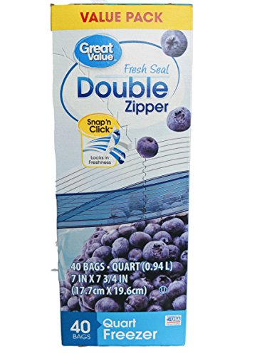 Great Value fresh seal Double Zipper 40 count quart freezer