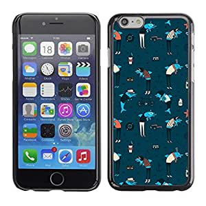 PC/Aluminum Funda Carcasa protectora para Apple Iphone 6 Plus 5.5 Dolphins Anchor Sea Art Wallpaper Colorful Blue / JUSTGO PHONE PROTECTOR