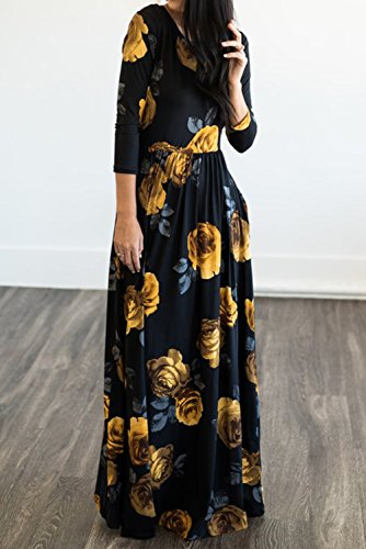 Maxi Casual Pockets Swing MITILLY Floral Print Dress 3 Long Sleeve 4 Pleated Black Women's xqxUCPwR