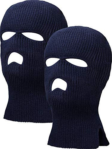Adjustable Hood - 2 Pieces 3-Hole Ski Mask Knitted Face Cover Winter Balaclava Full Face Mask for Winter Outdoor Sports (Navy)