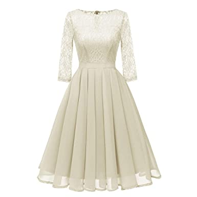 Dress Wedding Guest,Women Vintage Princess Floral Lace Cocktail O-Neck Party Aline Swing