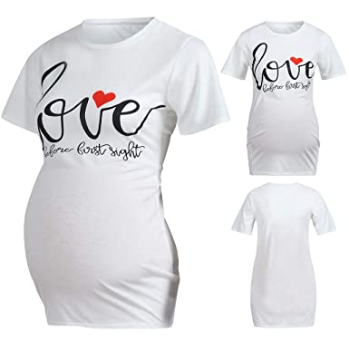 e361c4604118a Amazon.com: GoodLock Women Maternity Clothes Nursing Tops Short Sleeve  Letter Print Tops T-Shirt Pregnancy Clothes: Clothing