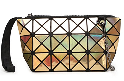 Kayers Sulliva Women's Fashion Hologram Geometric Plaid Wristlet Purse Clutch Wallet Shoulder Handbags(Gold)