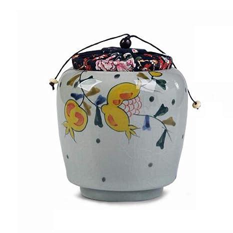 7dec64b28688 xlhx Urnas-Porcelana Azul Y Blanca Cerámica Sellada De Lata Mini Cenizas  para Mascotas,