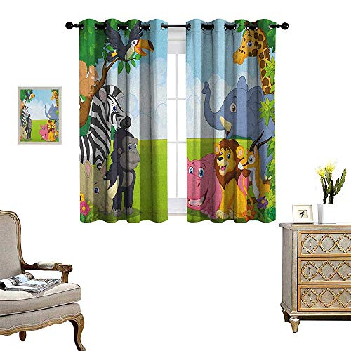 Crewel Drape - Warm Family Kids Window Curtain Fabric Kids Design Children Nursery Room Safari Themed Cartoon Animals Image Artwork Print Drapes for Living Room W72 x L63 Multicolor