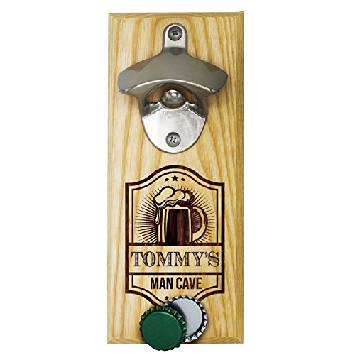 Dark Wood Personalized Engraved Wall Mounted Bottle Opener with Magnet