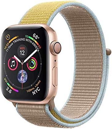 METEQI バンド 対応 Apple Watch、フックファスナー付き新しいナイロンスポーツループバンドストラップ交換バンドアップルウォッチシリーズ 適応 iWatch Series 6/5/4/3/2/1/SE (42mm/44mm, キャメル/イエロー)