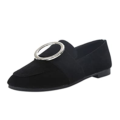 Womens Flat Shoes - Ladise Casual Low Heel Slip On Suede Shoes Comfy Buckle Shoes