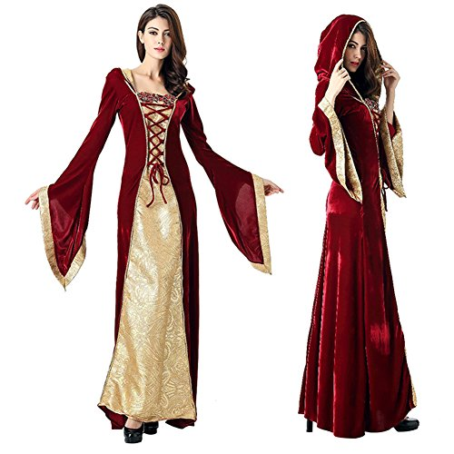 Binglinghua Burgundy Gown Game Thrones Renaissance Medieval Queen Fancy Dress (Tesco Womens Halloween Fancy Dress)