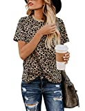 Yidarton Women's T Shirt Leopard Print Tops Short Sleeve Casual Cotton Round Neck Cute Blouse