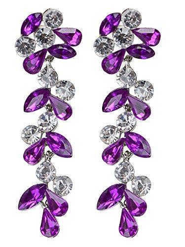(Alilang Bridal Swarovski Crystal Elements Flowers Leaves Earrings (Purple&Clear))