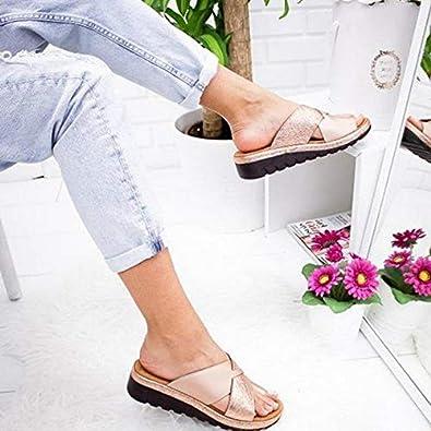 SO@WONEN Sandales Femme Plates Confortables Orthopedique Chaussures Plateforme /Ét/é Tongs Chaussures de Plage Hallus Valgus Wedge Sandals Noir Leopard Or Argent