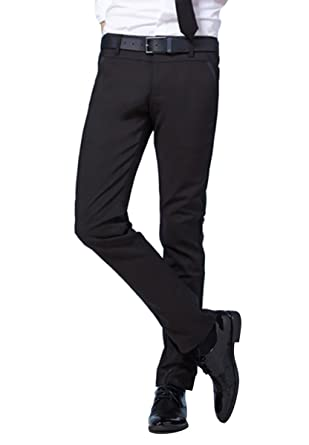 PXS Men's Casual Fashion Slim Fit Skinny Trousers Pants Black at ...