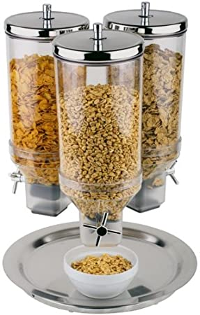APS 41909-13 Tres Dispensador 4.8 Quart Polipropileno Dispensador de cereales con S / S