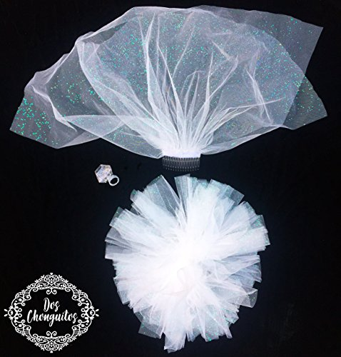 Bachelorette Veil, Tutu & BONUS Ring - I DO Tutu, Veil, & ring light; Bachelorette Party, Bride, Bridal shower, Wedding, Light Up, Engagement Rings for Women, By Dos Chonguitos -