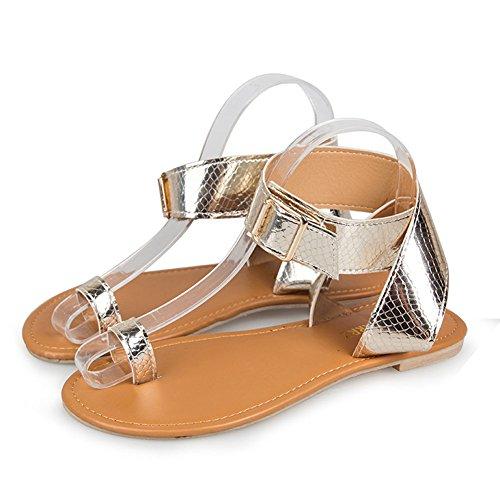 Cuir Sandals Mode Femme Toe De Clip Sandales Élégant Minetom Été Traversé Cheville Or Clair Peep Bride 01 Tongs Bohême Chaussures Vacances Plates Plage d6wX7UxU