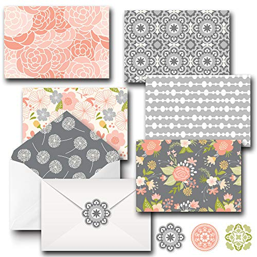 All Occasion Assorted Blank Note Cards - Boxed Set of 20 Cards & Decorative Envelopes and Sticker Set - Blank Cards - Great For Office Birthdays (Decorative Cards)