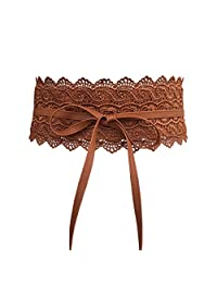 Women's Lace Belt Bowknot Waist Wrap Around Boho PU Faux Leather For Dresses