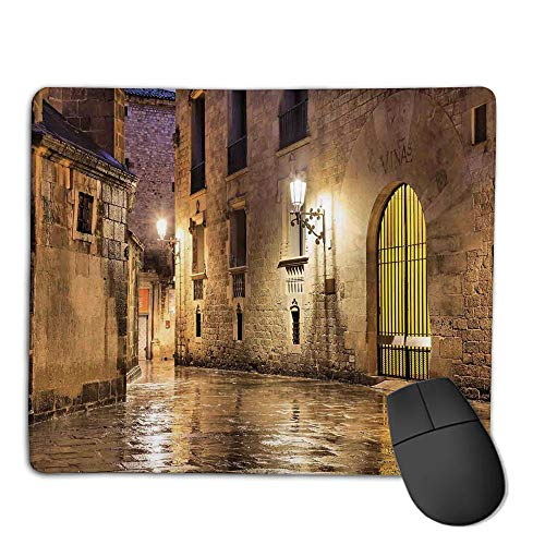 Premium Mouse Pad with Waterproof, Non Slip & Elegant Stitched Edges,Gothic Decor,Gothic Ancient Stone Quarter of Barcelona Spain Renaissance Heritage Gothic Night Street Photo,Cream,Consoles More