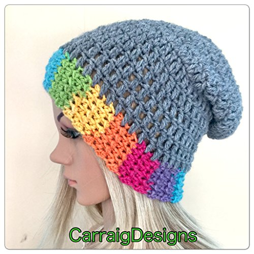 25056bf7c87 Amazon.com  Handmade unique designer womens teens hand crocheted knitted  oversized slouch beanie snood hat grey boho tam rainbow irish baggy dread   Handmade