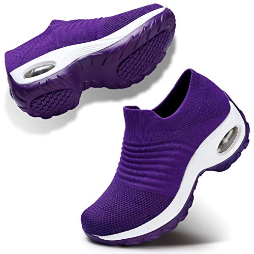 (Women Comfort Walking Shoes Casual Tennis Lightweight Sneakers Wedges Air Cushion Slip On Fitness Shoes 9.5 Purple)