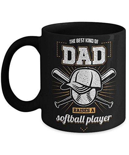 THE BEST KIND OF DAD RAISES A SOFTBALL PLAYER- cup NOT A shirt/Tshirt/tank/top/tee shirt/dress/clothes/onesie/Necklace/Sign/Gloves/decal - It's a Black 11 Oz Ceramic Coffee - Map Nashville Airport