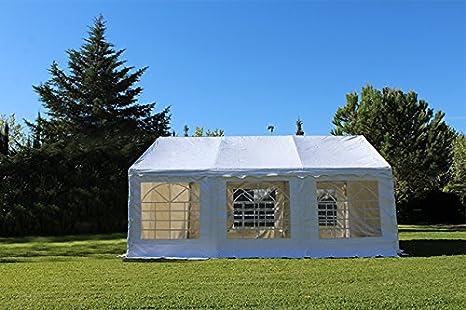 Carpa 6x4 PVC 500 gr blanca con ventanas para restaurentes y bares. Carpas estándar para terraza de cafeterías. Carpas lona pvc. Carpas exteriores para eventos. Carpas para bodas y fiestas.: Amazon.es: Industria,