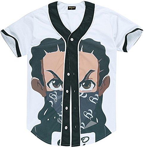 Arc Bottom 3D Cartoon Face Print Baseball Jersey Shirt Y1724-39-S (Face Womens Cut T-shirt)