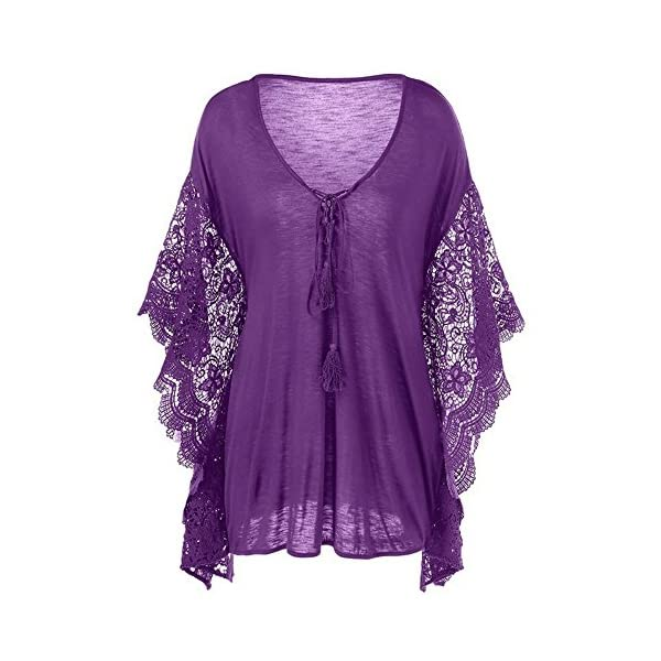 4f00e7905dbe BAIFERN Womens Tops Sexy V Neck Lace Butterfly Sleeve Plus Size Blouse T  Shirt