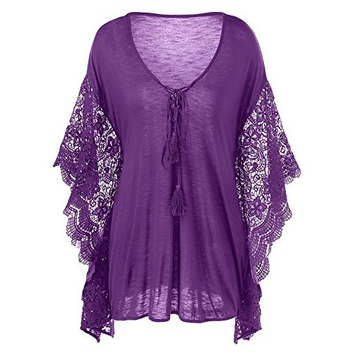 Baifern Plus Size Women's V-neck Top Butterfly Sleeve Lace Blouses (Butterflies Ladies Top)