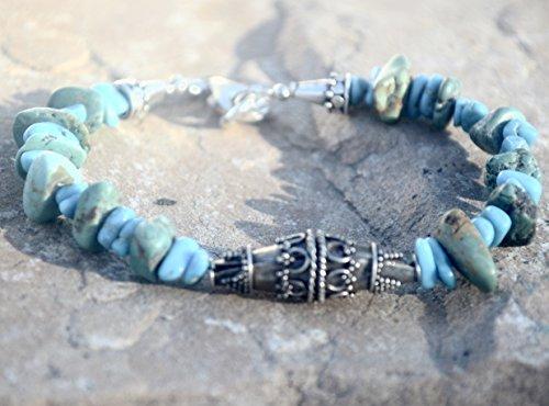 Sleeping Beauty Turquoise Nuggets Arizona Bali Focal Bead Solid Sterling Silver 925 .925 Beaded Bracelet Natural Genuine Gemstone OOAK Boho Bohemian - Sterling Silver Bali Nugget Beads