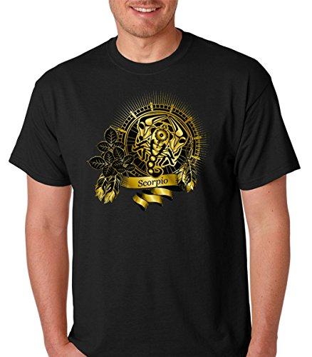 (Gold Scorpio Zodiac Sign Astrology Horoscope Mens Tshirt (Large, Black))