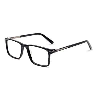 788536f97218 OCCI CHIARI Mens Rectangular Acetate Eyewear Frame with non prescription  lenses (A-Bright Black