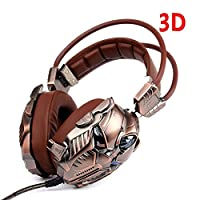 Xbox One PC PS4 USB Gaming Headphones with Mic, 7.1 Surround Sound 3D Vibration Deep Bass Stereo LED Light (Brown) by KINDEN