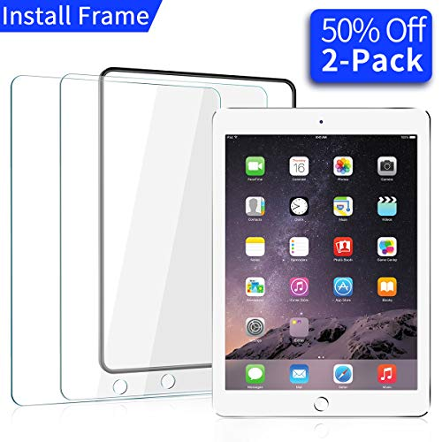 [2 Pack] iPad 9.7 in (2018/2017) / iPad Air 2 / iPad Pro 9.7 in/iPad Air Screen Protector,[Easy Installation Frame], Ainope New Tempered Glass Screen Protector, Apple Pencil Compatible, Anti-Scratch by Ainope