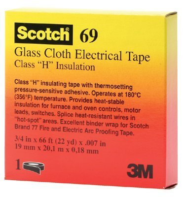 3M Scotch Glass Cloth Electrical Tape 69-3/4''x66', White, Silicone Adhesive, 3/4 in x 66 ft (19 mm x 20.1 m) 10/EA ROLLS
