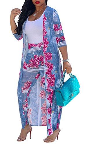 - Women's Sexy 2 Pieces Outfit Floral Print Cardigan Cover-up with Pants Set Bodycon Jumpsuit Rompers (XX-Large, Rose)