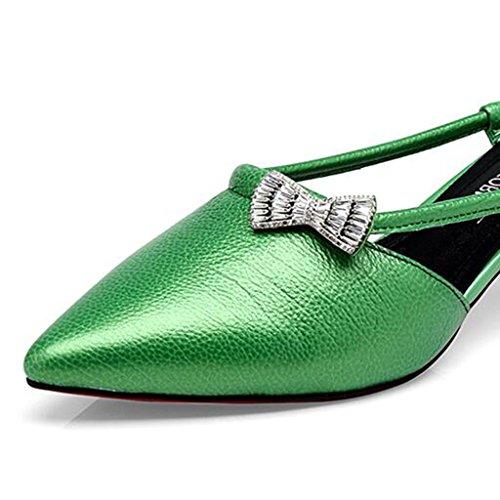 Half coreanas Femeninos de mujeres nuevos MUMA Bale de Shoes verano Verde las Zapatos de tacón medio de Sandalias tacón 2018 de Negro Zapatos Dragging grueso Sandalias tacón Zapatos Mujer Blanco B punta de OTOq8n4